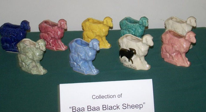 Banquet Display of BAA BAA Black Sheep Planters in a Variety of Glazecolors & Decoration